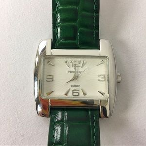 Peugeot Women's watch with green leather band